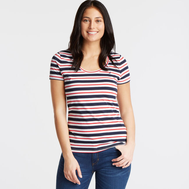 Tri-Color Stripe Scoop-Neck Tee,Deep Sea,large
