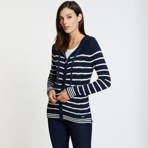 Striped Cable-Knit Long Sleeve Hoodie - Deep Sea