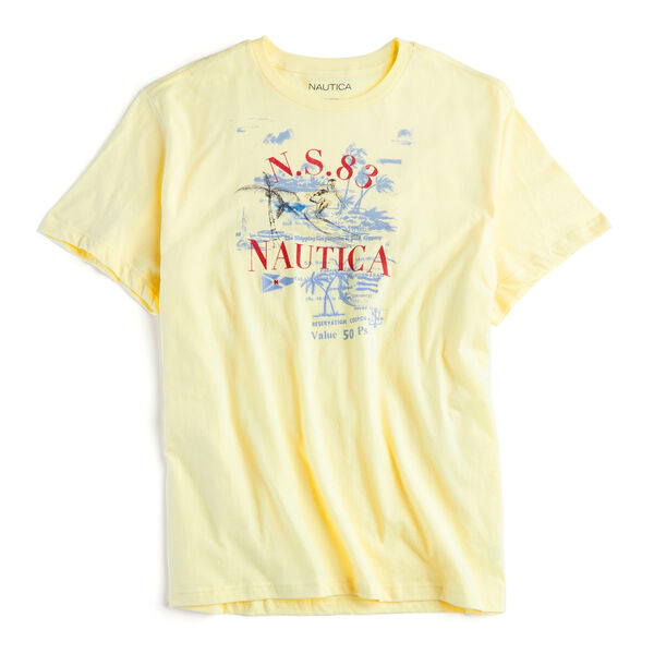 BIG & TALL PAINTED BEACH GRAPHIC T-SHIRT - Light Mimosa