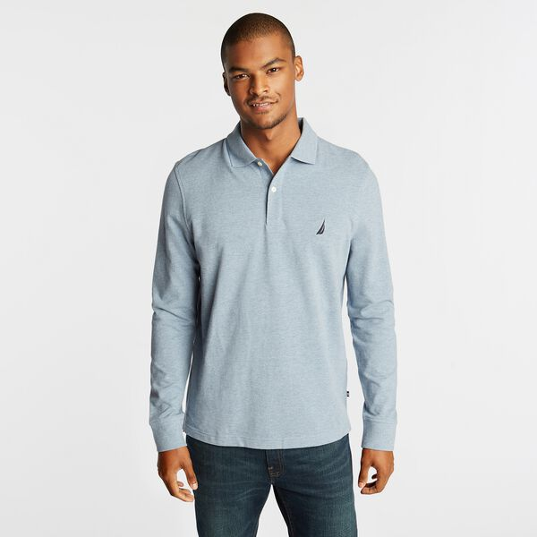 CLASSIC FIT J-CLASS LONG SLEEVE POLO - Anchor Blue Heather