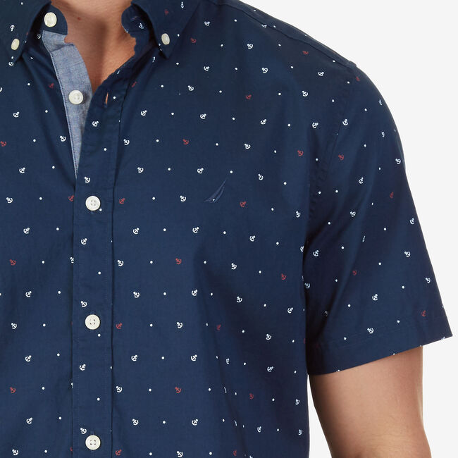 Classic Fit Anchor & Dot Print Short Sleeve Shirt,Peacoat,large