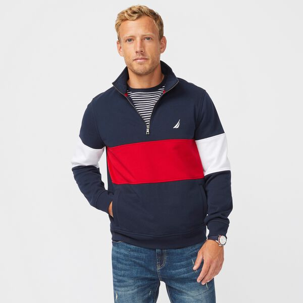 COLORBLOCK QUARTER-ZIP SWEATSHIRT - Navy