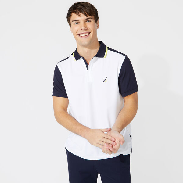 CLASSIC FIT COLORBLOCK TIPPED POLO - Bright White