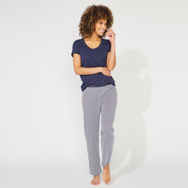 NAUTICA SIGNATURE STRIPED SHORT SLEEVE PAJAMA SET - Crystal Bay Blue