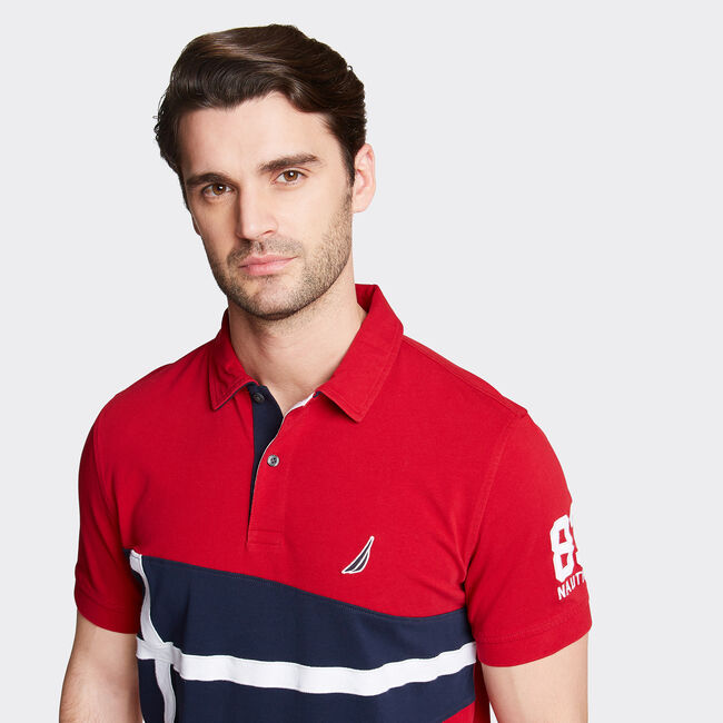 Classic Fit Jersey Polo in Flag Appliqué,Nautica Red,large