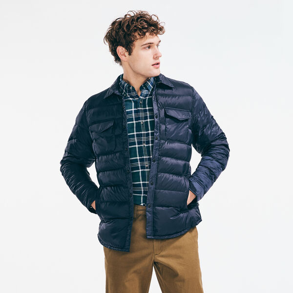 STRIPE-STITCHED RIPSTOP JACKET - Navy
