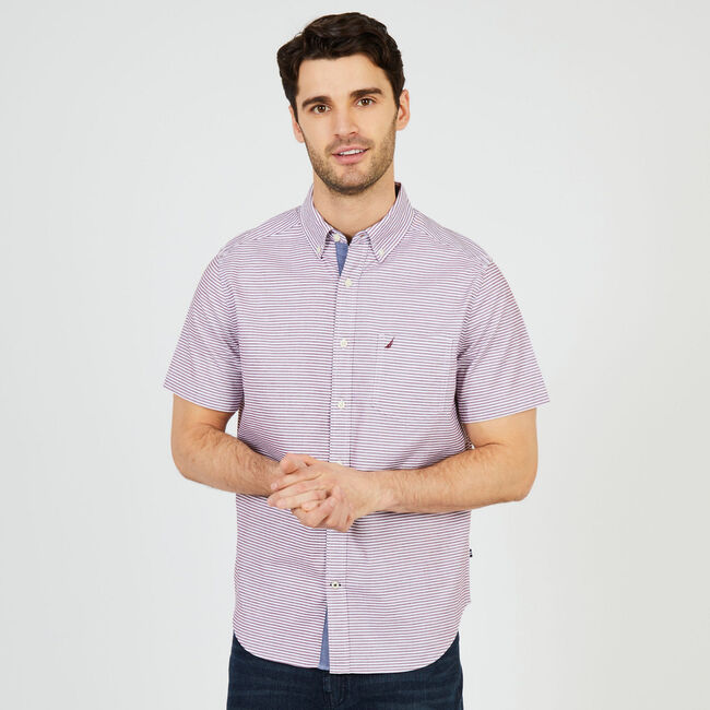 Oxford Striped Classic Fit Short Sleeve Shirt,Royal Burgundy,large