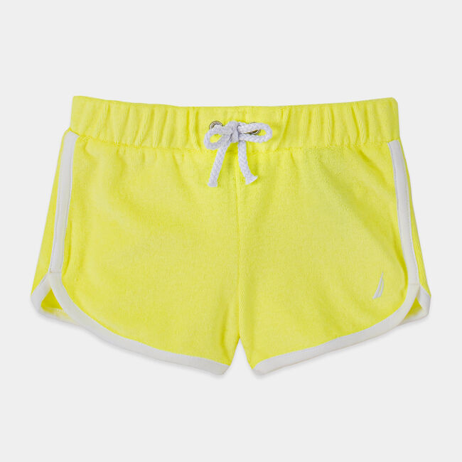 TODDLER GIRLS' TERRY DOLPHIN SHORTS (2T-4T),Light Yellow,large