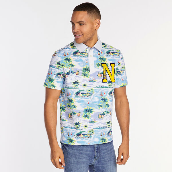 Big & Tall Jersey Polo in Aloha Print - Bright White