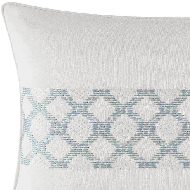 Locklear Aqua Texture Embroidered Breakfast Pillow in Open Turquoise,Castaway Aqua,large