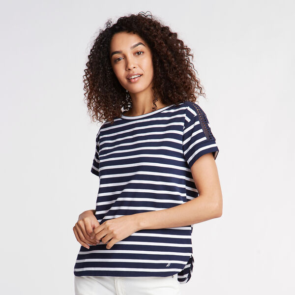 CROCHET & JERSEY TEE IN STRIPE - Stellar Blue Heather