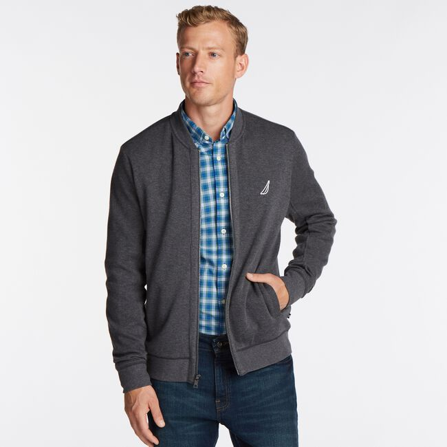 CLASSIC FIT FULL ZIP BOMBER JACKET,Charcoal Heather,large