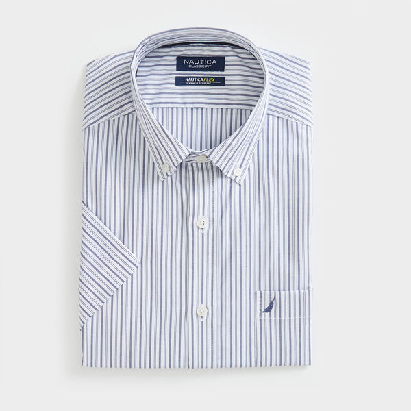 CLASSIC FIT WRINKLE-RESISTANT STRIPED SHORT SLEEVE SHIRT - J Navy