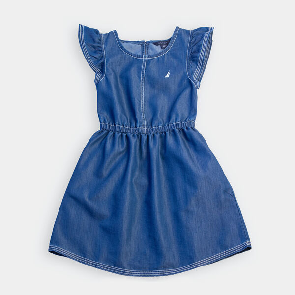 GIRLS' CHAMBRAY FLUTTER SLEEVE DRESS (8-20) - Clear Sky Blue