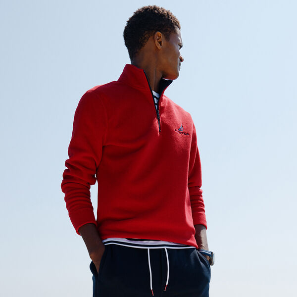 QUARTER ZIP NAUTEX FLEECE PULLOVER - Nautica Red