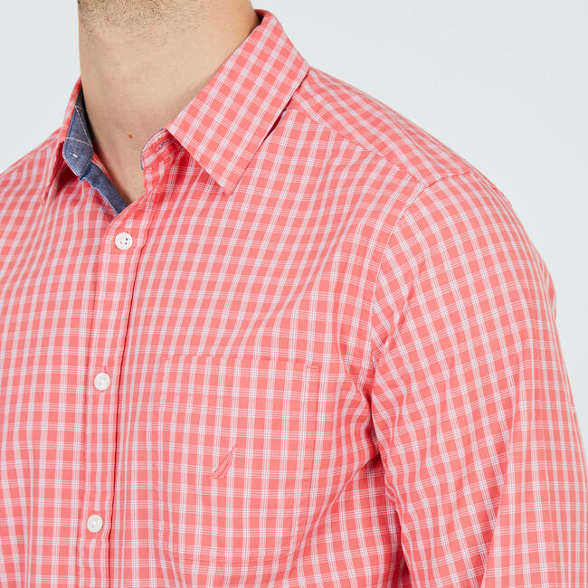Plaid Classic Fit Long Sleeve Button Down,Spiced Coral,large