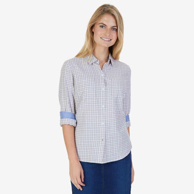 Gingham Flannel Button-Down Shirt,Oxford Pink,large