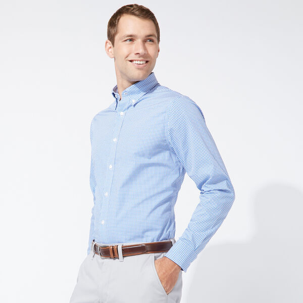 CLASSIC FIT COTTON SHIRT IN MEDIUM BLUE CHECK - South Beach Aqua