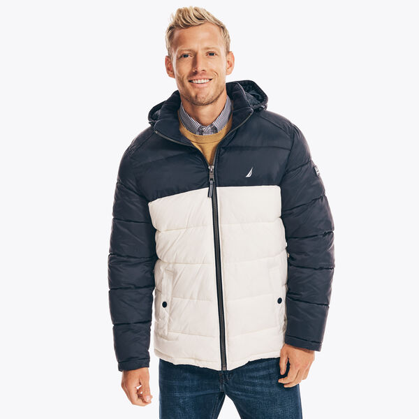 COLORBLOCK QUILTED JACKET - Navy
