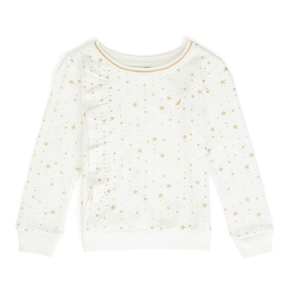 Girls' Star Motif Ruffle Pullover - Bright White