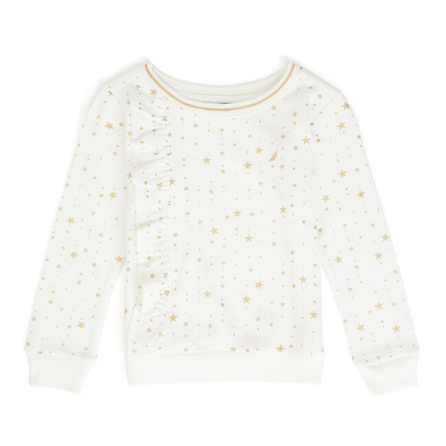 Girls' Star Motif Ruffle Pullover,Bright White,large