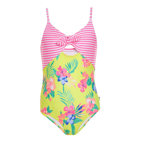 GIRLS' STRIPED AND FLORAL PRINT ONE-PIECE SWIMSUIT (8-20) - Lemon Twist