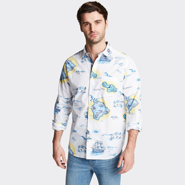 CLASSIC FIT POPLIN SHIRT IN PRINT - Bright White