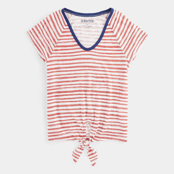 NAUTICA JEANS CO. STRIPE TIE-FRONT KNIT TOP - Buoy Red