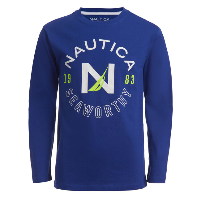 BOYS' SEAWORTHY GRAPHIC LONG SLEEVE T-SHIRT (8-20),Anchor Blue Heather,large