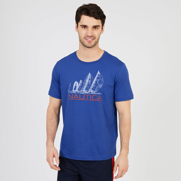 Sketch Sailboat Sleep T-Shirt - Monaco Blue