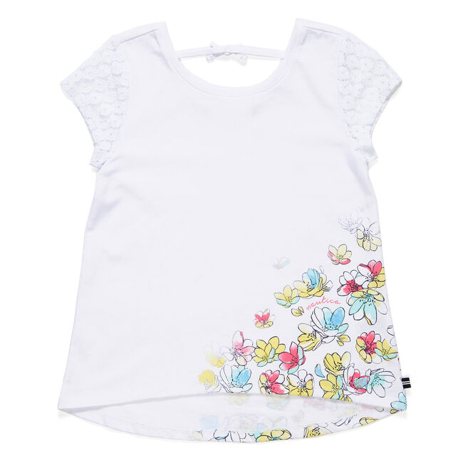 Little Girls' Floral Tie-Back T-Shirt (4-6X),White,large