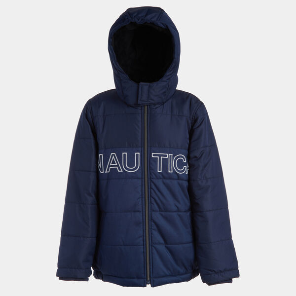 BOYS' WATER-RESISTANT COLORBLOCK LOGO BUBBLE COAT (8-20) - Oyster Bay Blue