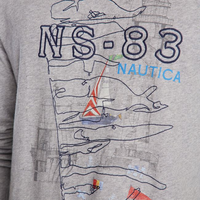 NS-83 LONG SLEEVE GRAPHIC TEE,Grey Heather,large