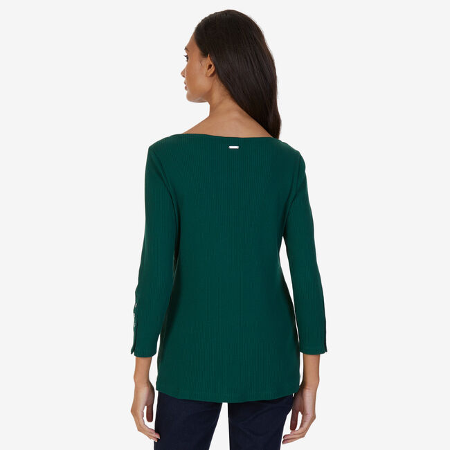 Boatneck Ribbed Top,Evergreen,large