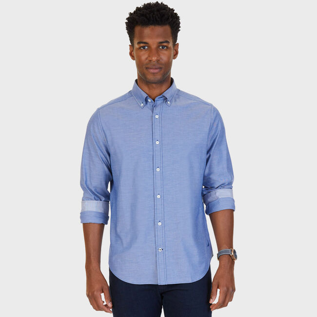 Classic Fit Solid Stretch Button Down,Estate Blue,large