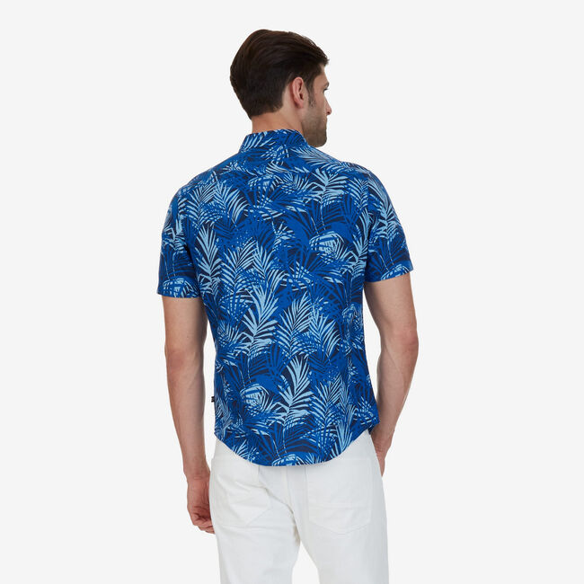 Big & Tall Tropical Leaf Classic Fit Button Down,Marine Blue,large