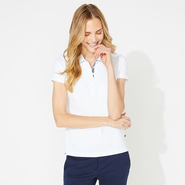 CLASSIC FIT POLO SHIRT WITH CHAMBRAY BACKED COLLAR - Bright White