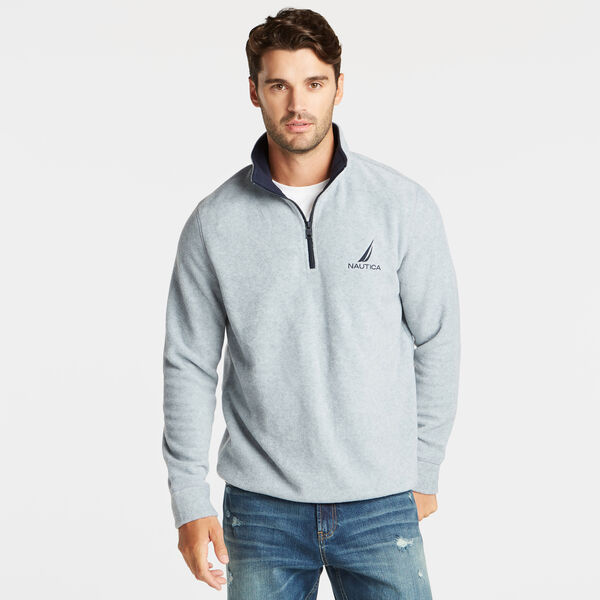 QUARTER ZIP NAUTEX FLEECE PULLOVER - Grey Heather