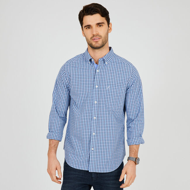 Classic Fit Plaid Long Sleeve Button Down,Starlight Blue,large