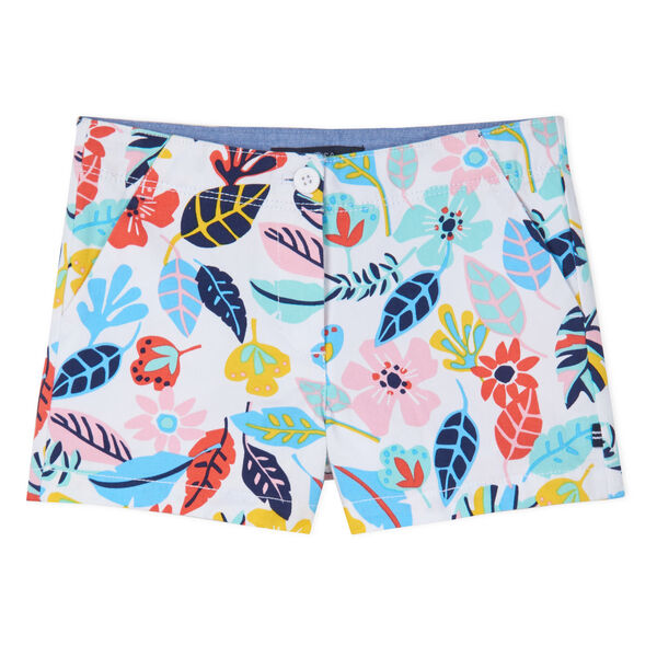 LITTLE GIRLS' FLORAL PRINTED SHORTS (4-7) - Blue Stern