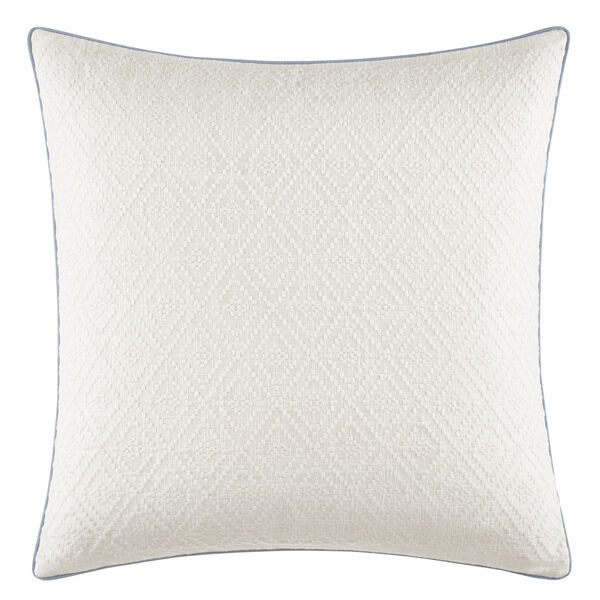 Locklear Tonal Ivory Embroidered Square Pillow in Open White - Ivory