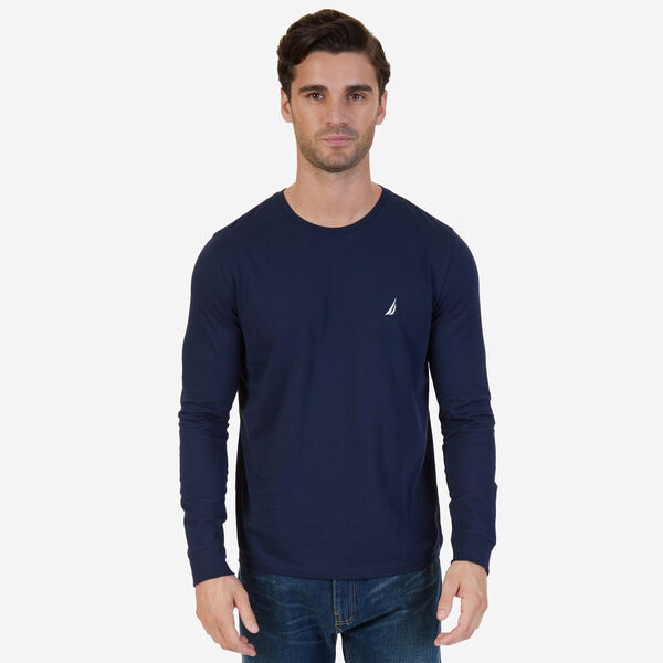 CREW NECK LONG SLEEVE TEE - Pure Dark Pacific Wash