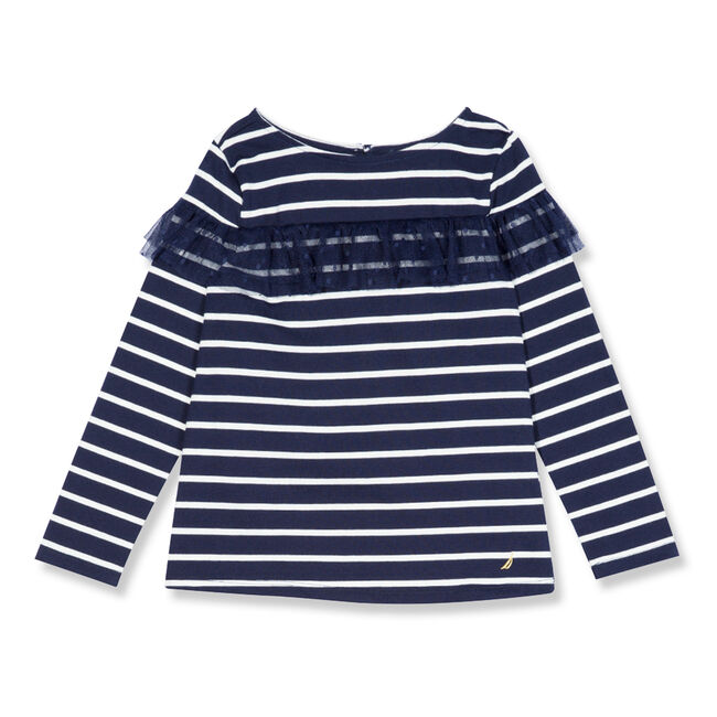 Little Girls' Striped Top With Mesh Ruffle (4-6X),Navy,large