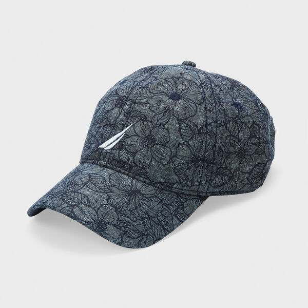 FLORAL PRINT CAP - Sinker Blue Denim Wash