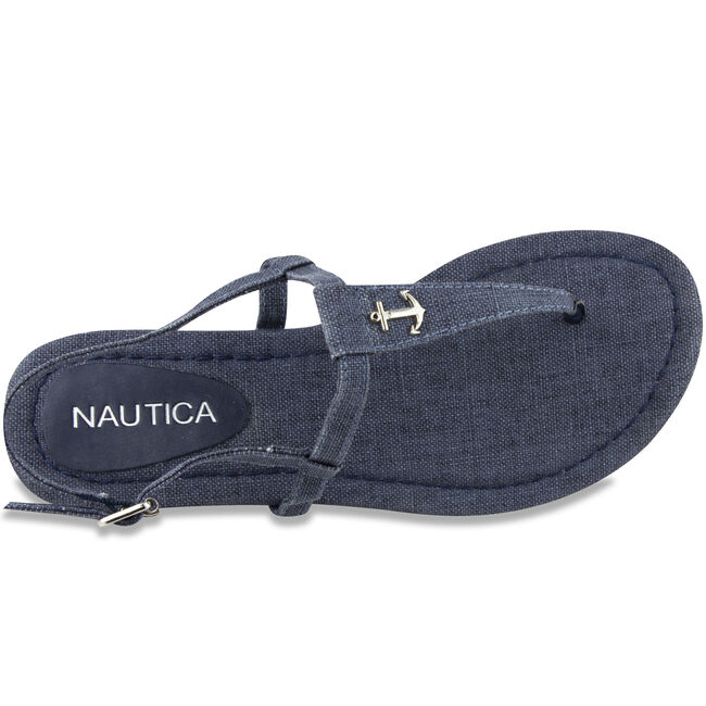 Above Deck Linen T-Strap Sandals,Navy,large