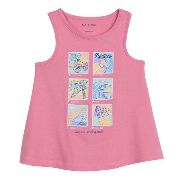 GIRLS' TANK IN CHECKLIST GRAPHIC - Pale Pink