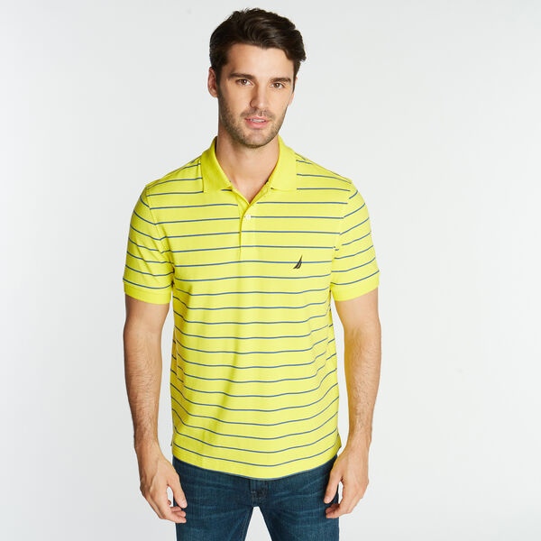 CLASSIC FIT MESH POLO IN STRIPE - Blazing Yellow