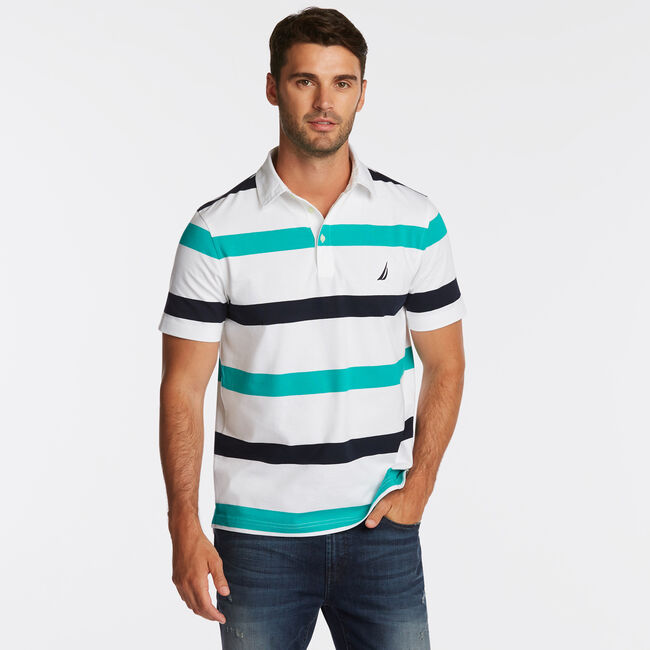 CLASSIC FIT NAVTECH MIXED STRIPE POLO,Bright White,large
