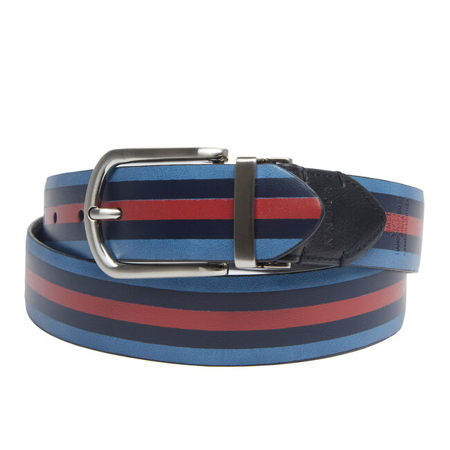 Reversible Dress Belt with Painted Stripe,True Black,large