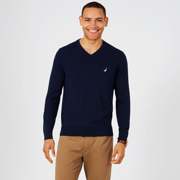 Big & Tall Jersey V-Neck Sweater - Pure Dark Pacific Wash